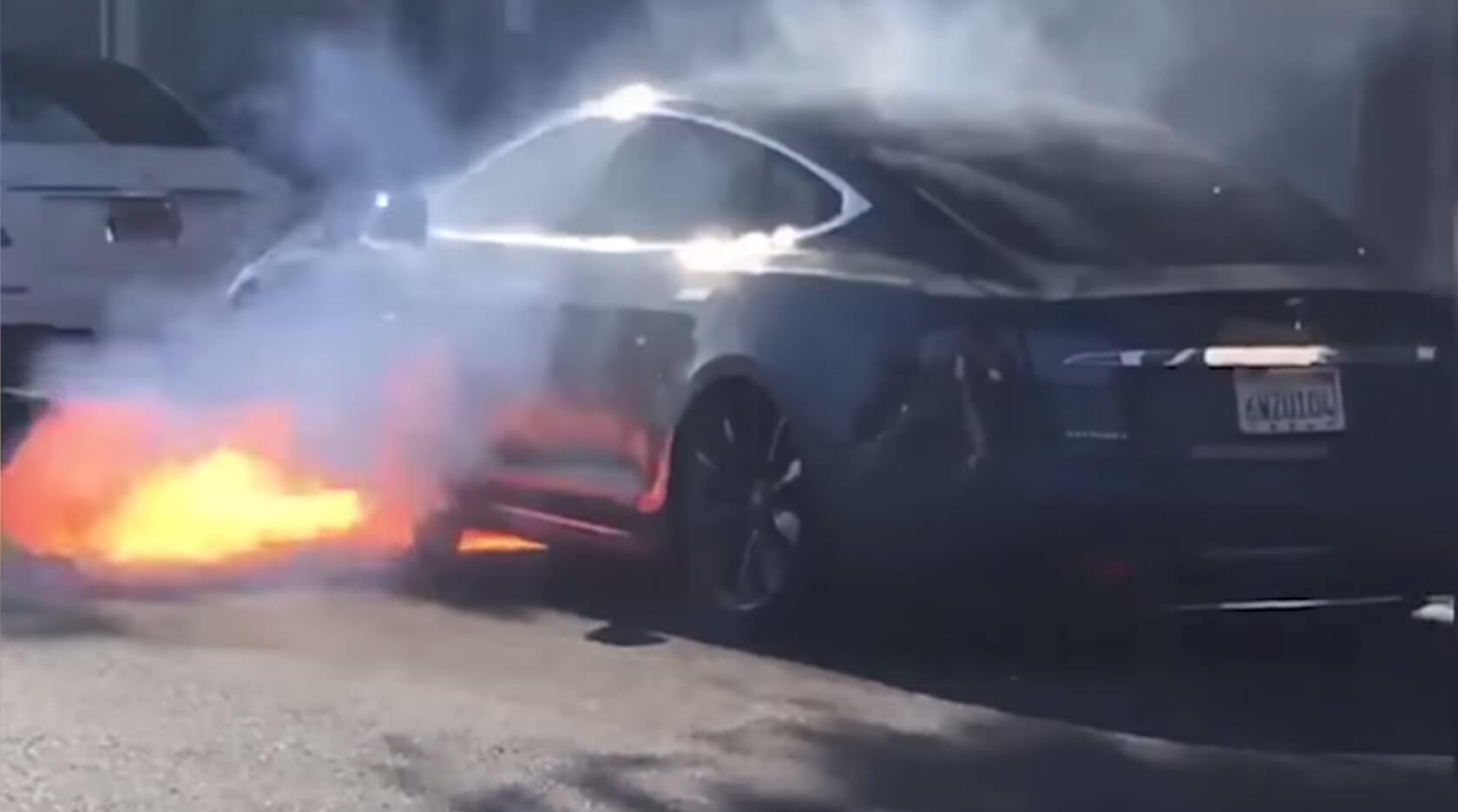 Watch: Tesla Model S caught on video going up in flames out of the blue