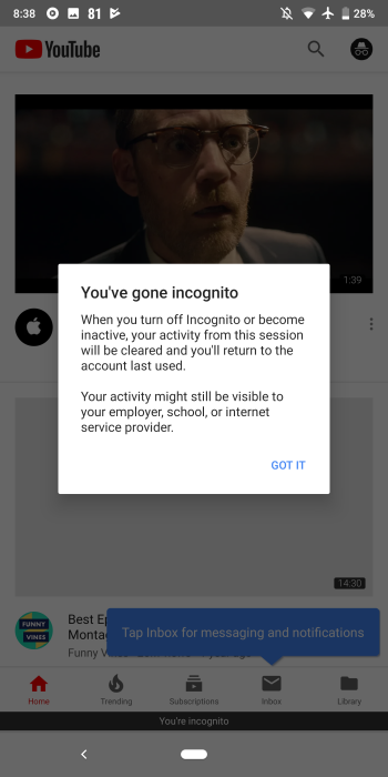 how to take off incognito mode on google chrome