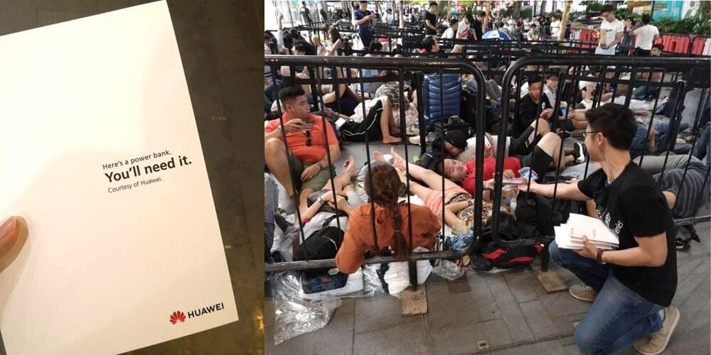 Huawei hands out chargers at Apple Store's iPhone lines, tells customers they'll need them