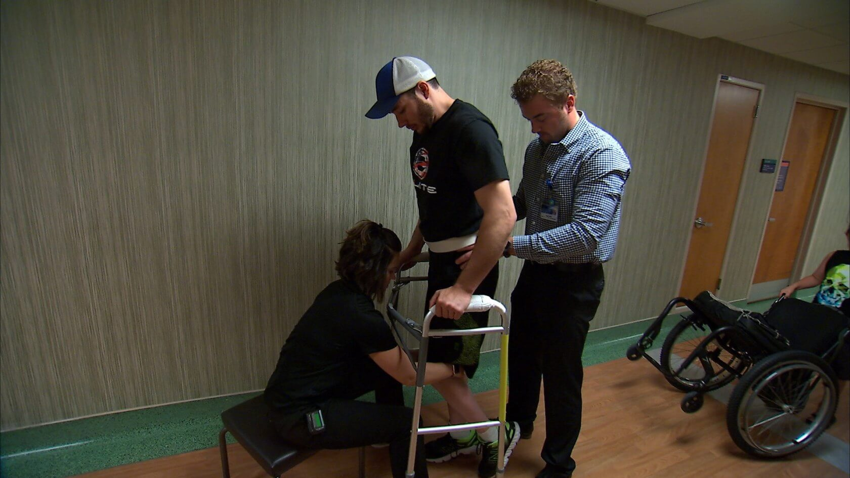 Unbelievable moment paralysed man walks for first time in five years