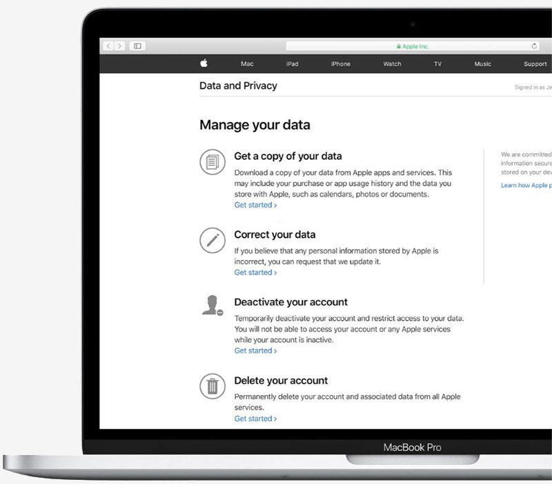 Apple now lets US customers download Apple ID account data
