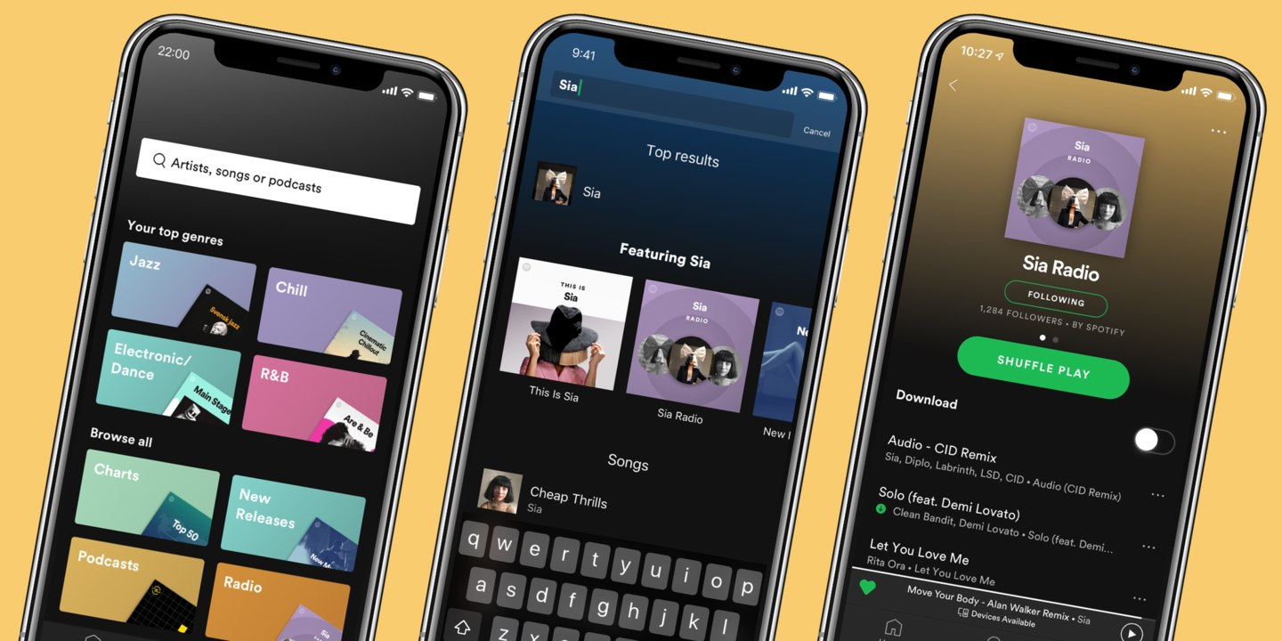 Spotify premium users get better navigation, personalised search and endless Artist Radio