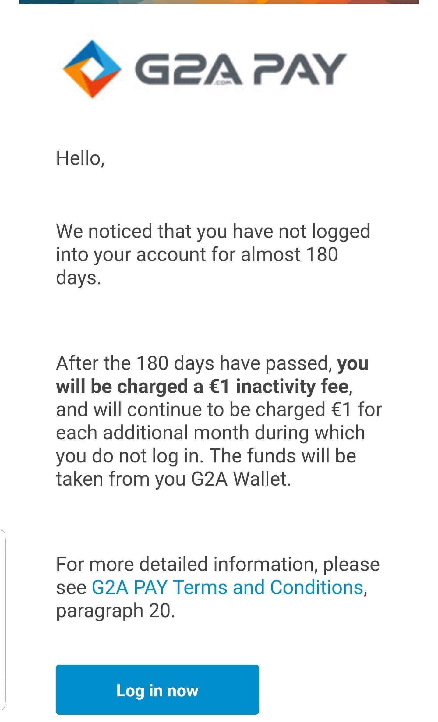 G2A criticized for charging users over inactive accounts