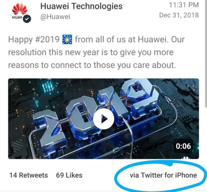 Huawei demotes employees for tweeting NYE message from