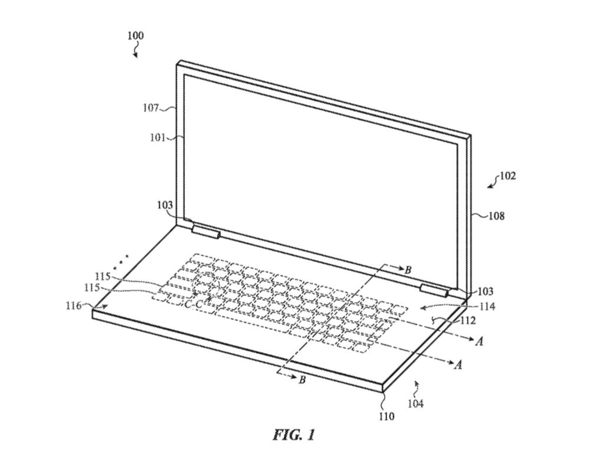 apple patents macbook with key switches underneath a flexible touchscreen keyboard