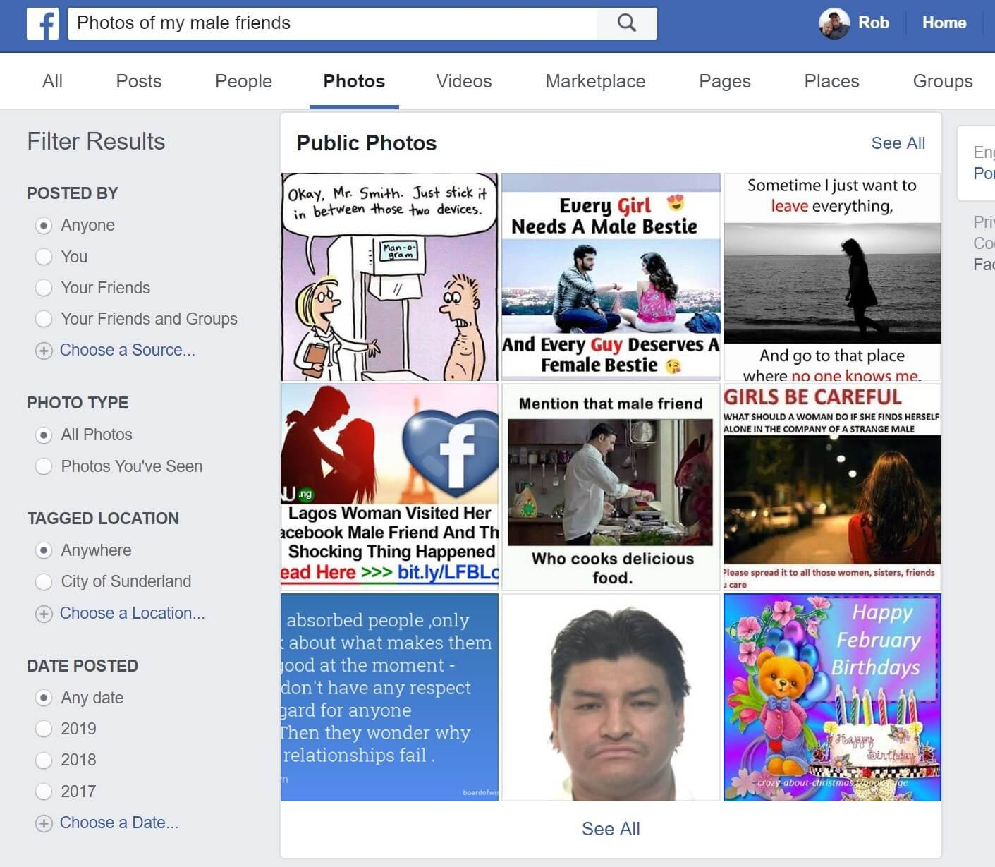 Facebook search feature brings up photos of female friends, but it