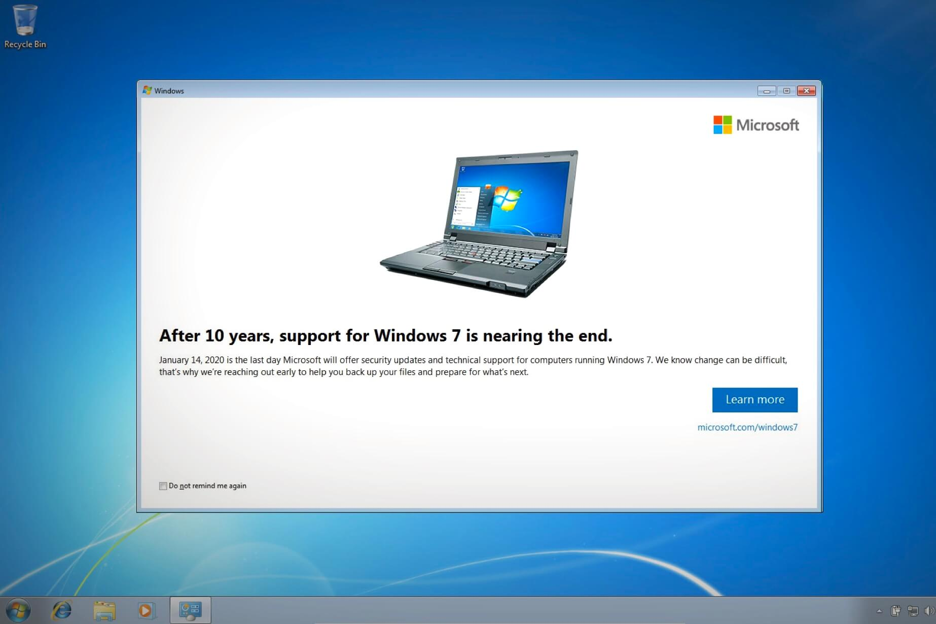 Microsoft rolls out Windows 7 end of support
