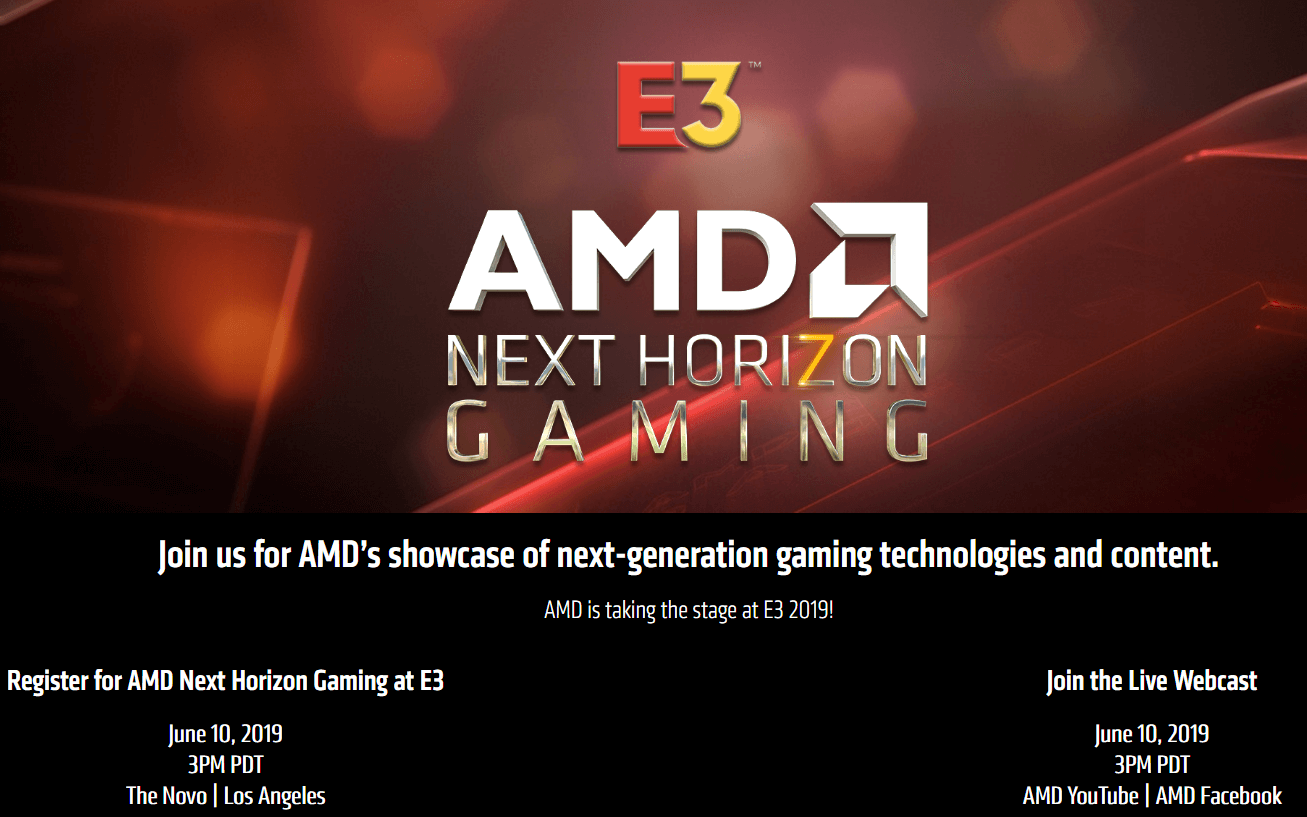 AMD to host Next Horizon Gaming event at E3 2019, Navi details likely