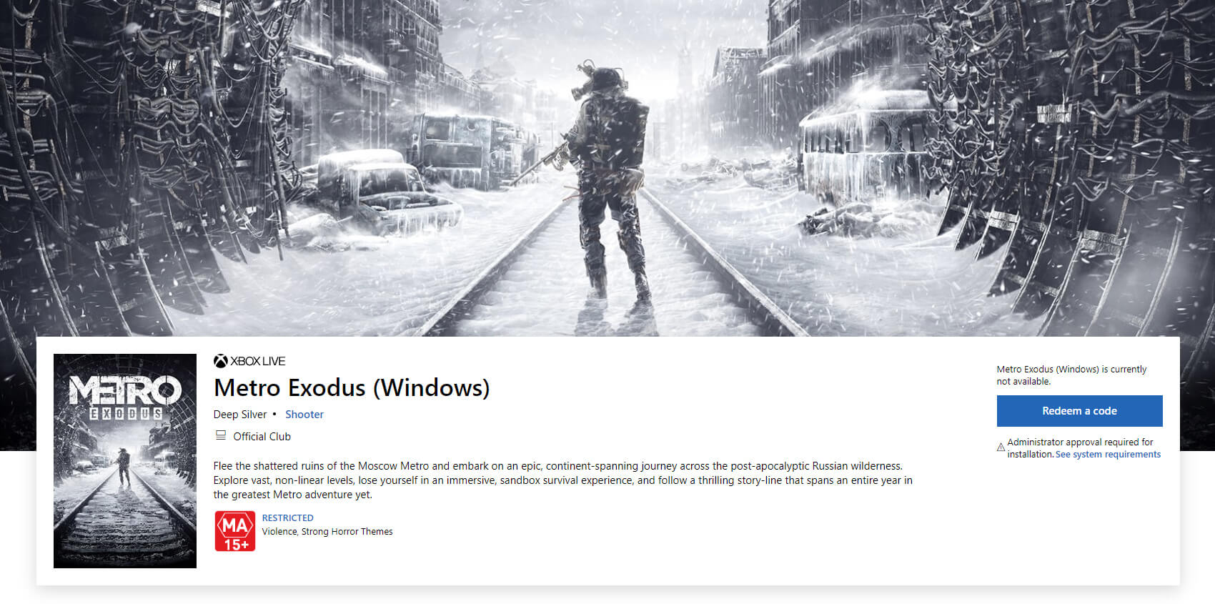 Metro Exodus suddenly appears on the Windows Store, releases