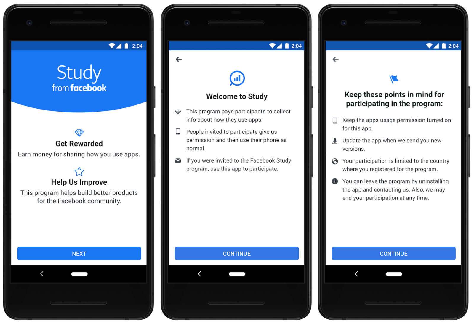 Study from Facebook is a research app that will pay you in