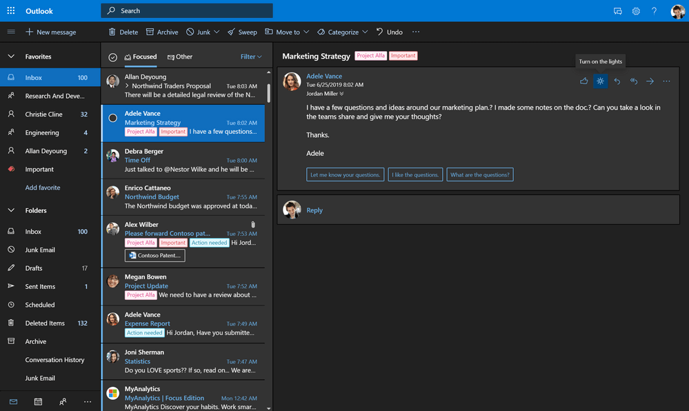 Microsoft is ready to roll out the new Outlook web with Dark