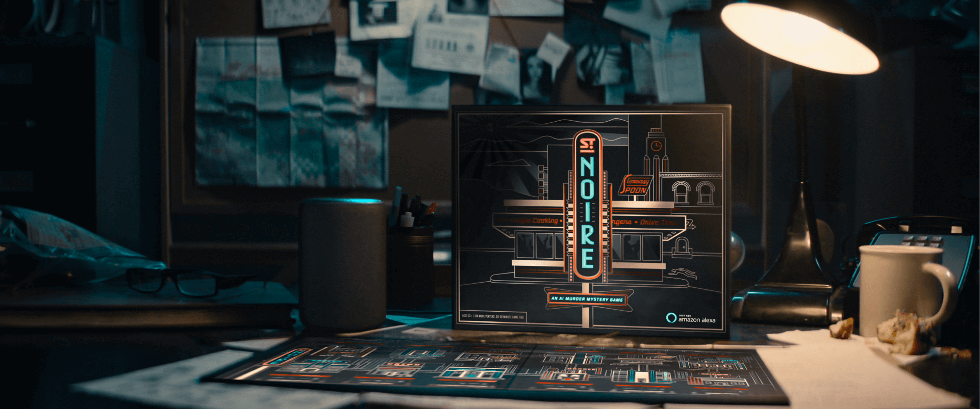 St. Noire is a murder mystery board game driven by Alexa