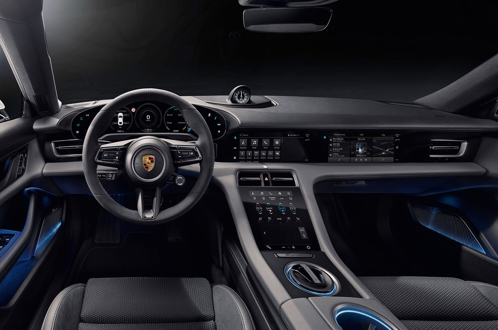 The Porsche Taycan comes with so many screens, even the passenger has one