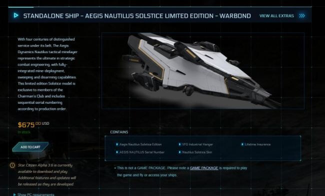 Star Citizen's latest limited-edition ship will reportedly cost you $675