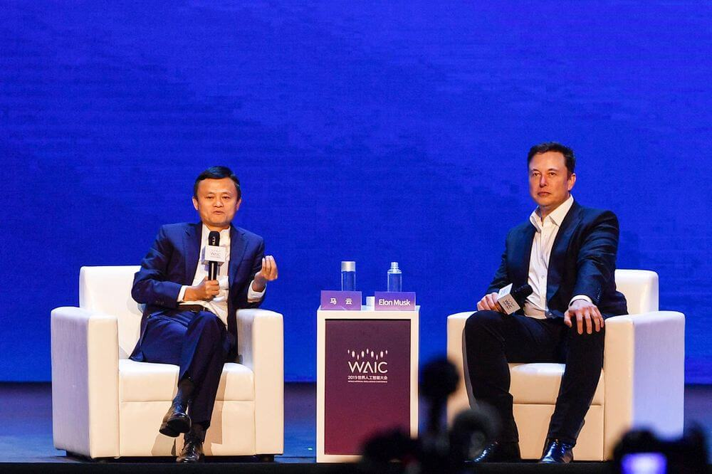 Elon Musk and Jack Ma discuss AI at the World Artificial Intelligence Conference in Shanghai