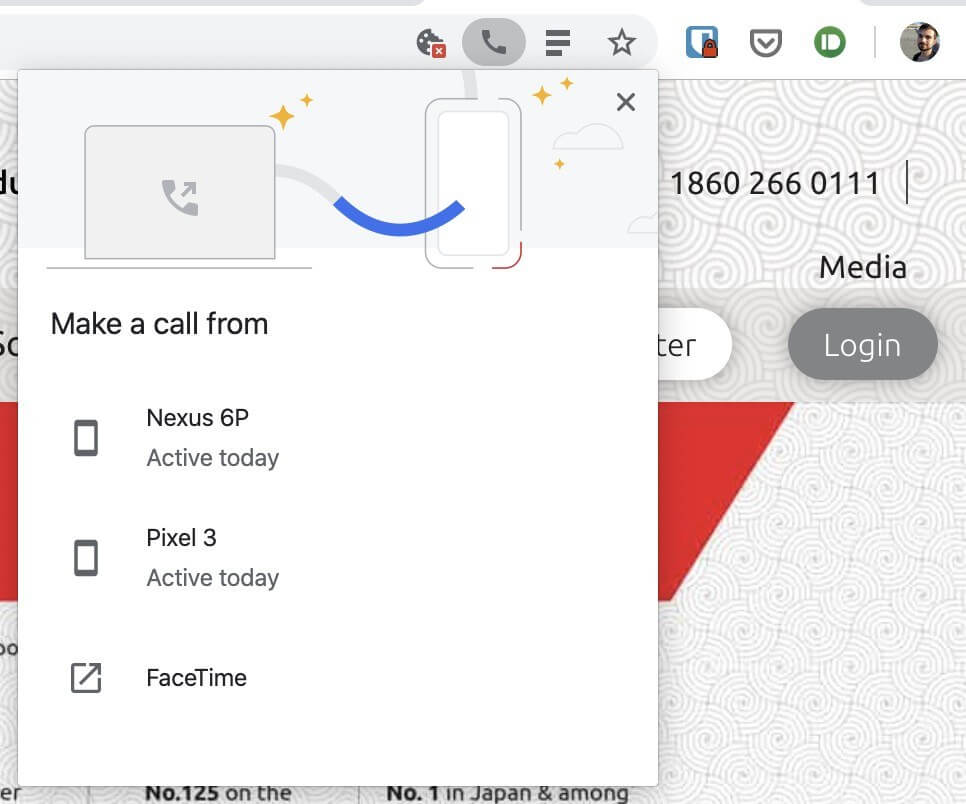 Chrome Beta for desktop lets you send phone numbers to your Android handset