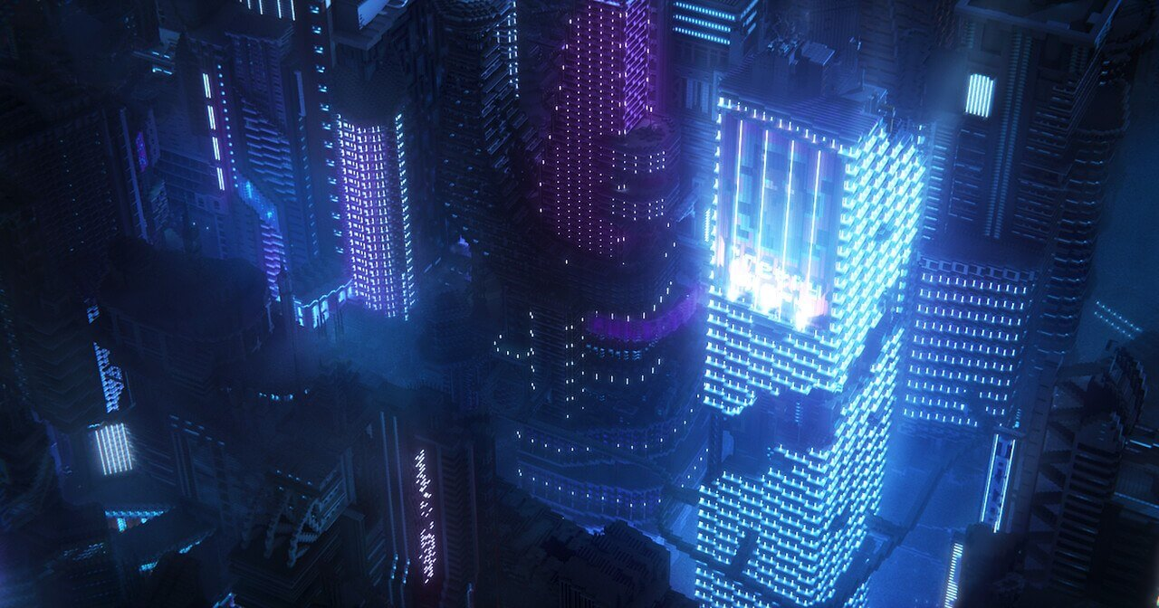 Minecraft players create a sprawling, futuristic in-game city inspired by Cyberpunk 2077