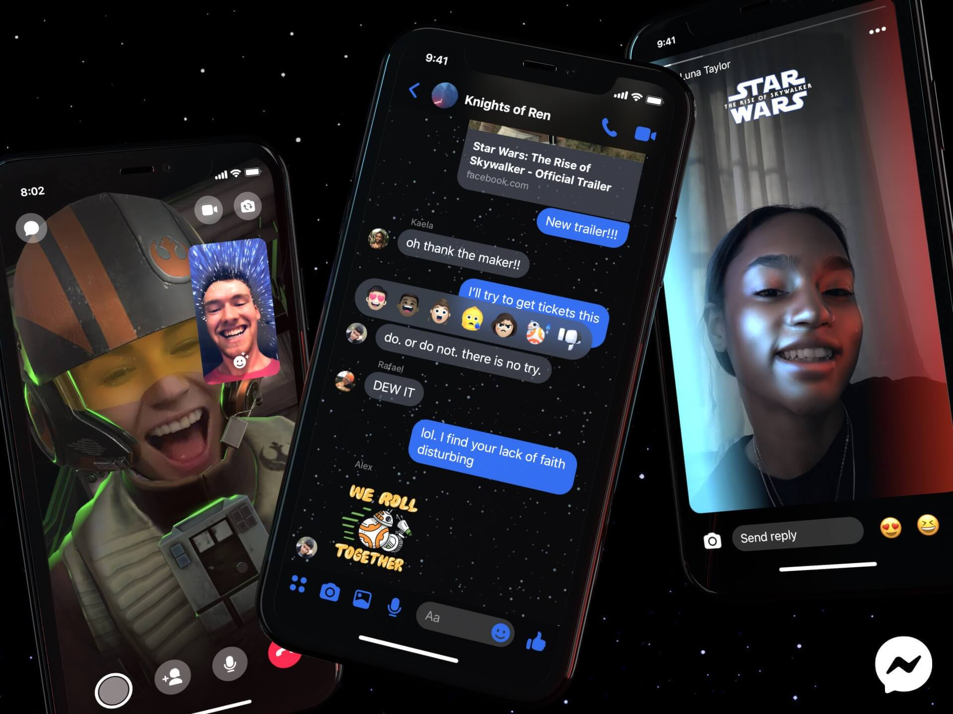 Facebook's Messenger now has a Star Wars-themed dark mode