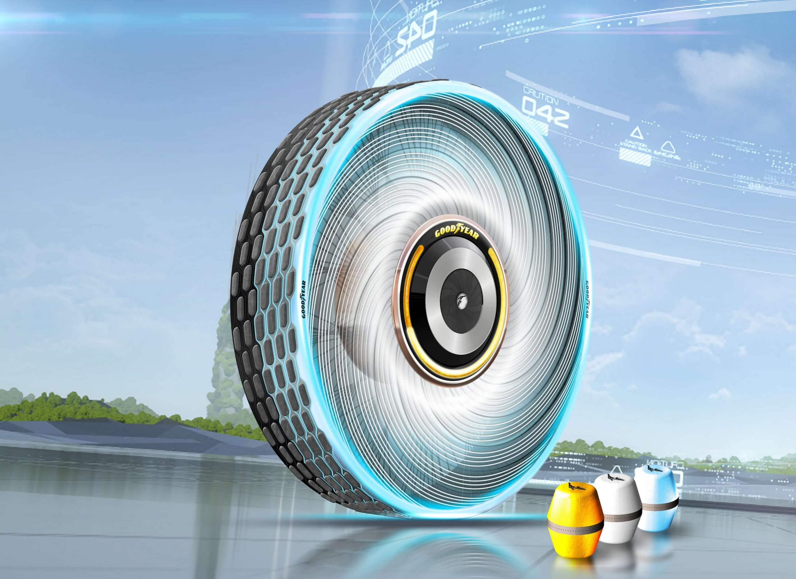Goodyear's newest smart-tire concept 'prints' tread on the fly