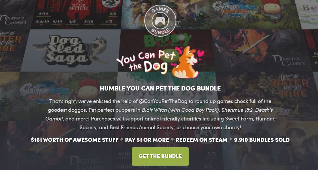 , Humble's latest bundle features games in which you can pet dogs