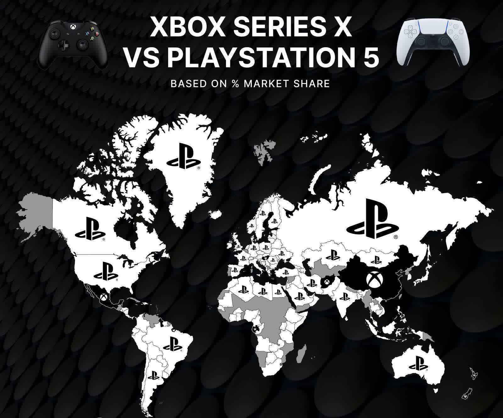 World map of PS5 and XBSX demand shows Sony coming out on top worldwide