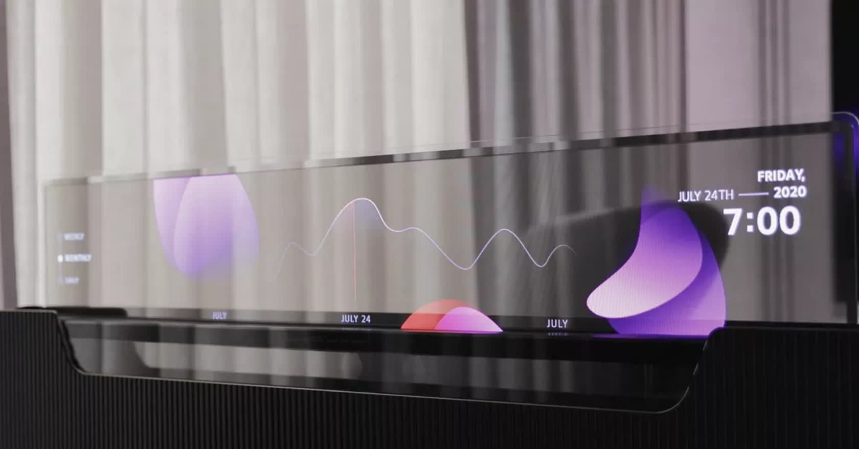 LG wants to place a 55-inch, transparent slide-up TV at the foot of your bed