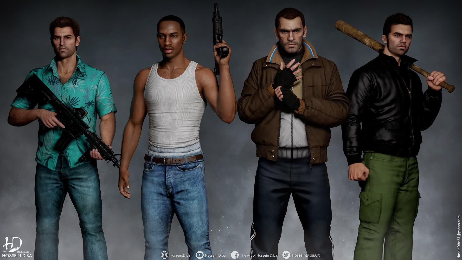 Artist turns old GTA characters into lifelike 3D models