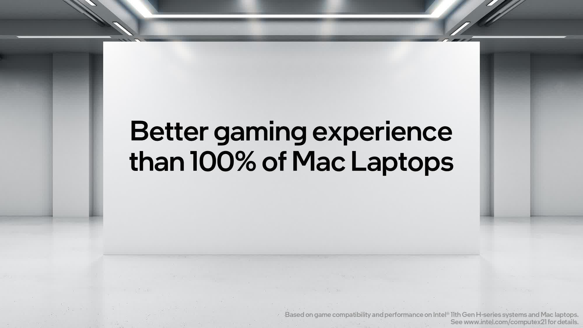 Intel says it provides a better gaming experience than 100% of Mac laptops