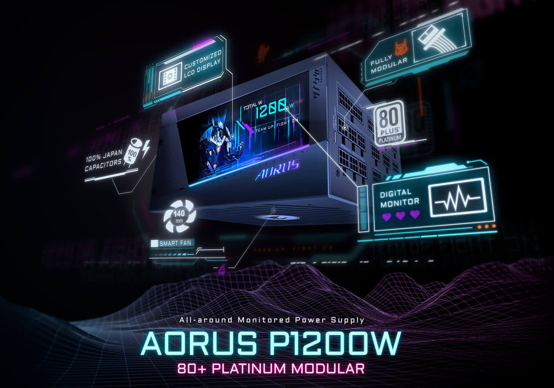 Gigabyte's 1200W Aorus power supply features an integrated LCD panel