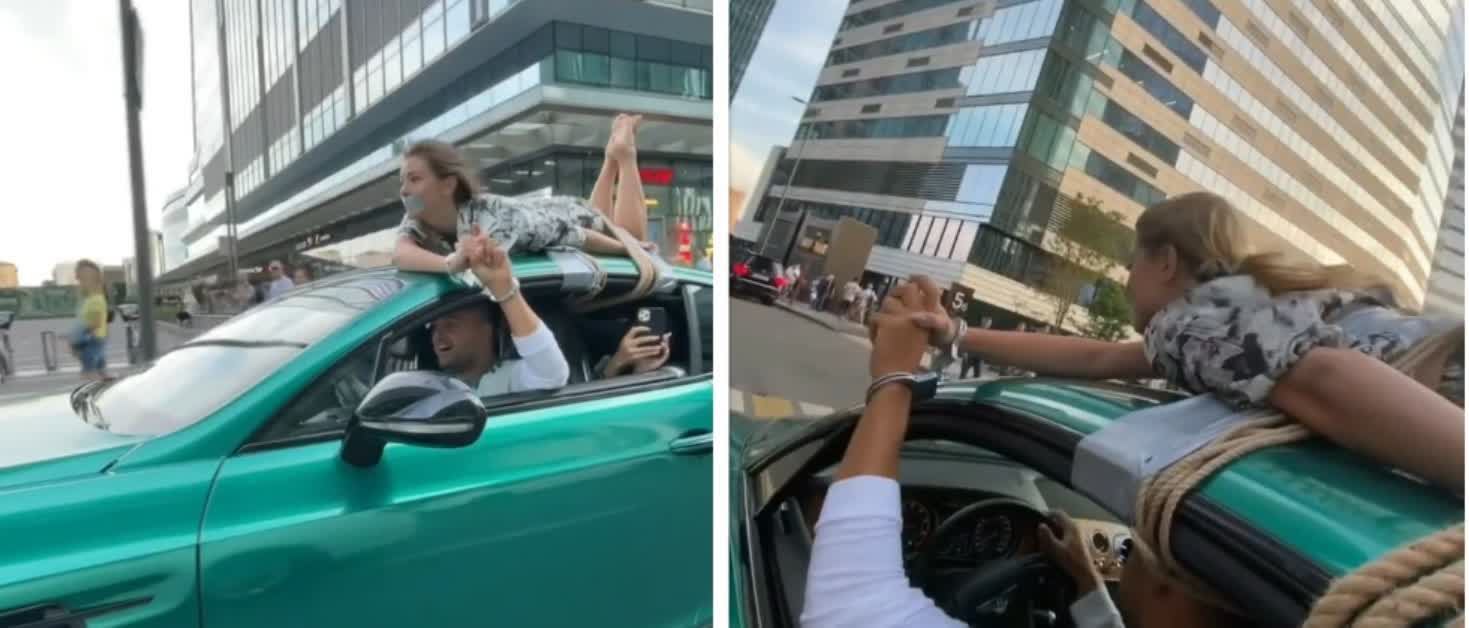 Russian influencer under investigation for driving a Bentley with his girlfriend tied to the roof