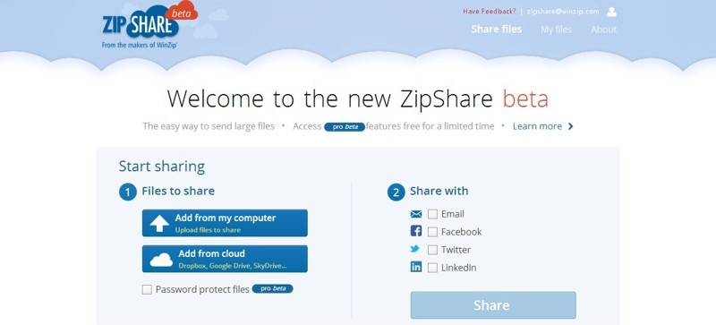 WinZip moves to the cloud, launches online service ZipShare