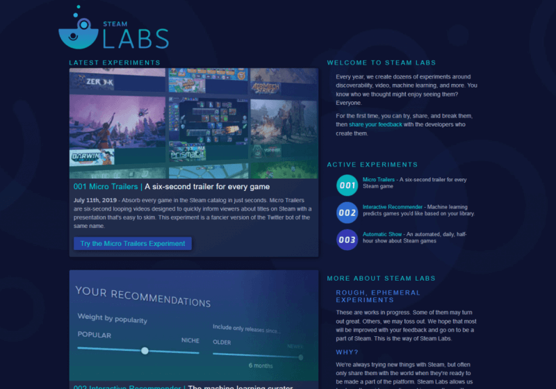 Valve launches 'Steam Labs,' a new hub for testing out